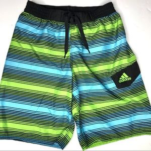 Adidas boys striped swim suit